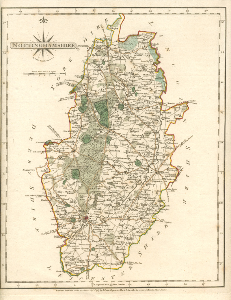 J. Cary Nottinghamshire county map c1787.