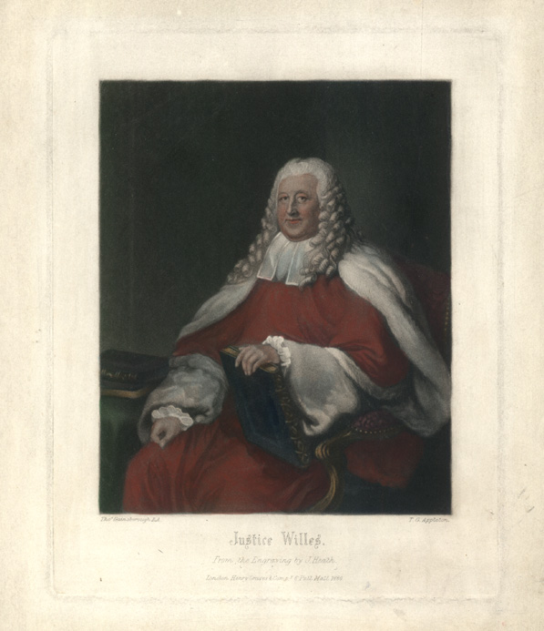 Justice Willes in Judge's robes. After Gainsborough. Engraved c1880