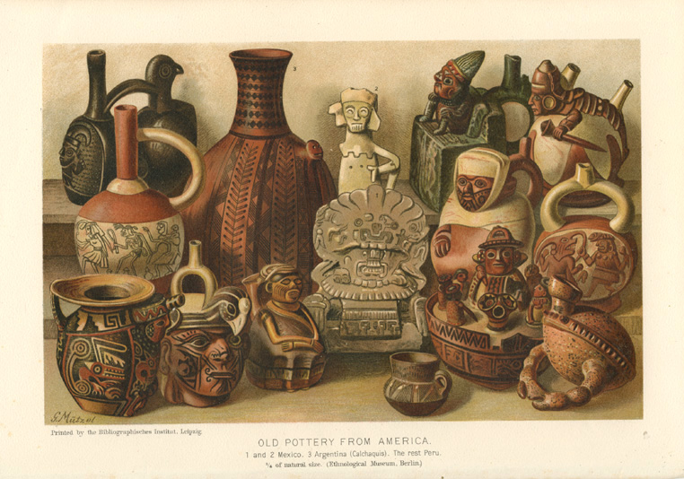 Rare Americana. Old Pottery from America. Lithograph c1904.