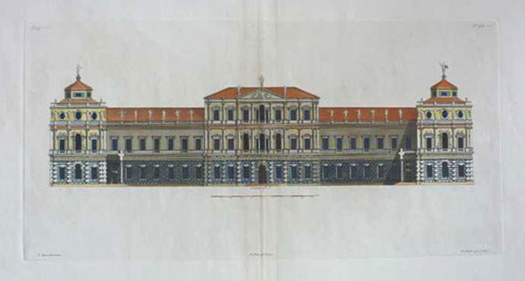 Inigo Jones classical architectural design. Royal Palace, Whitehall. c1725
