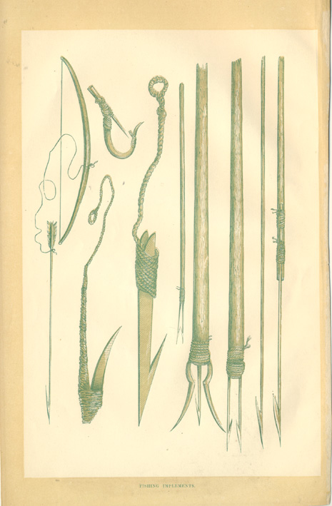 Fishing Implements. North American Indian Fishing Spears, Hooks c1860.