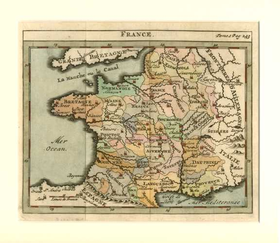France antique map of regions. Small map by Chatelain c1729