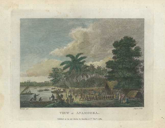 Tonga. View at Anamooka market-place. After Webber. Harrison c1790