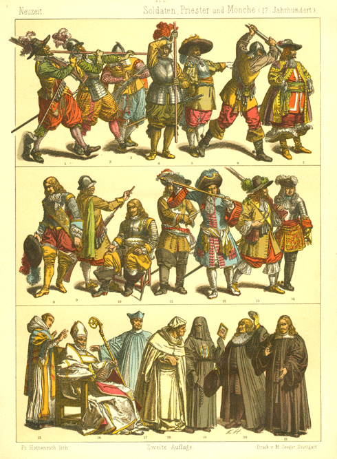 European 17th century Soldiers, Priests and Monks.