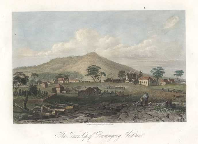 Half-price ST Gill engraving. Township of Buninyong, Victoria c1856