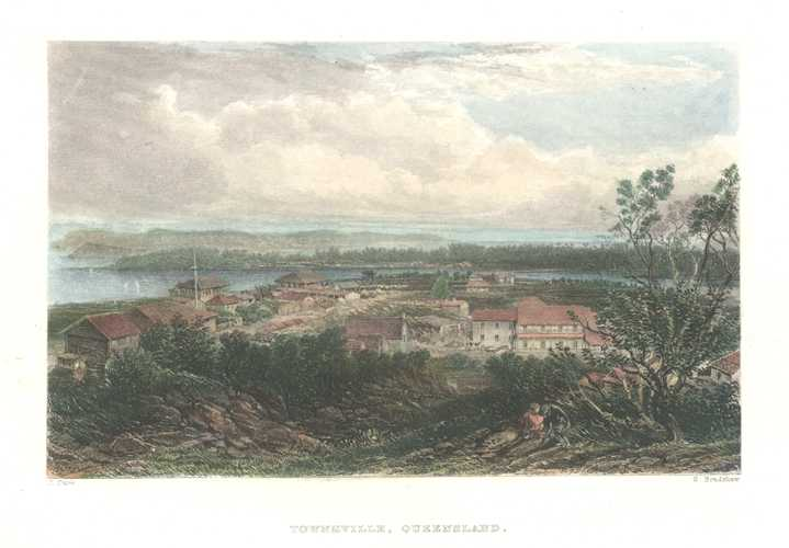 Townsville antique print engraved c1874 for Australia Illustrated