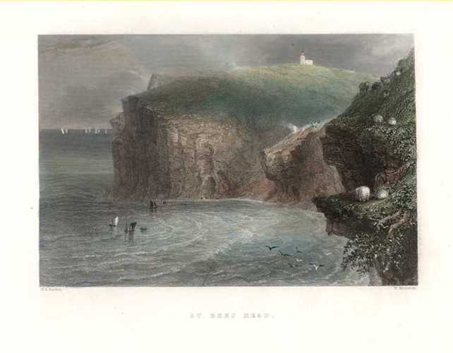 St. Bees Head, Bartlett engraving for Finden, c1840.