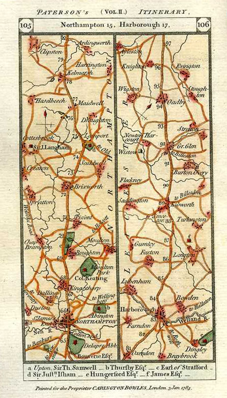 Paterson's Itinerary Road Maps: Northampton, Harborough. Carington-Bowles c1785.