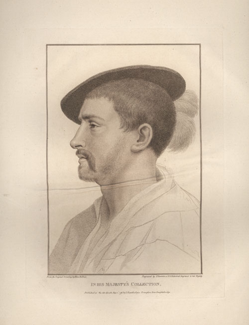 Holbein untitled portrait of Simon George. Bartolozzi engraving c1796