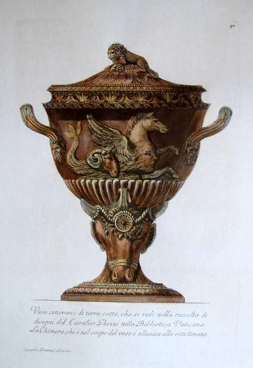Antique Print Club Piranesi Urn 3r Rust Coloured Classical Vase