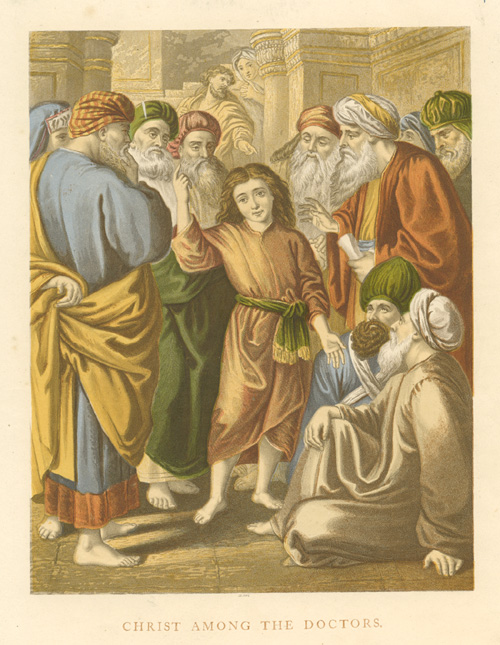 Christ Among the Doctors. Antique lithograph c1890.