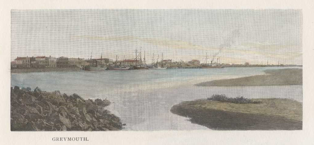 Greymouth, New Zealand antique print c1888.