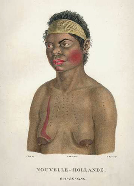 Australian Aborigine. Nouvelle-Hollande. Oui-re-kine Portrait. Antique Print c1807