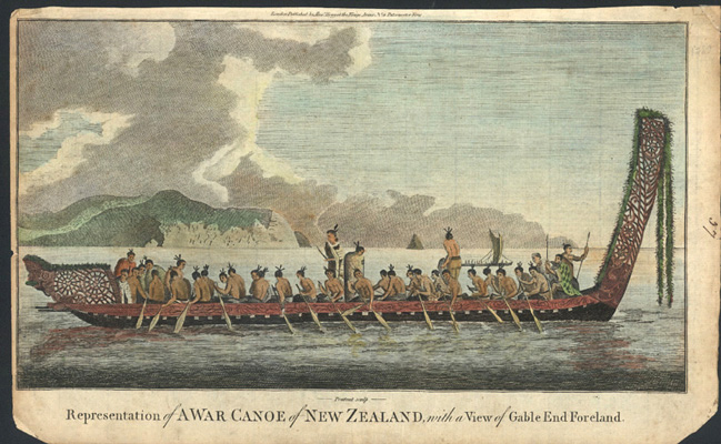 Representation of A War Canoe of New Zealand.