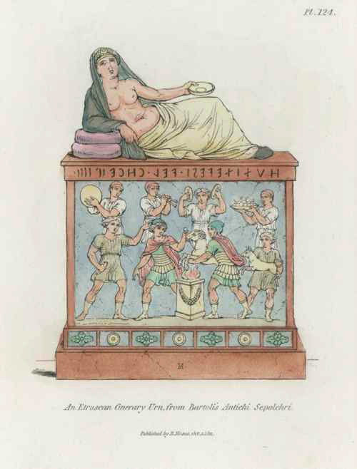 Etruscan Cinerary Urn by Bartoli, engraved by Henry Moses c1811