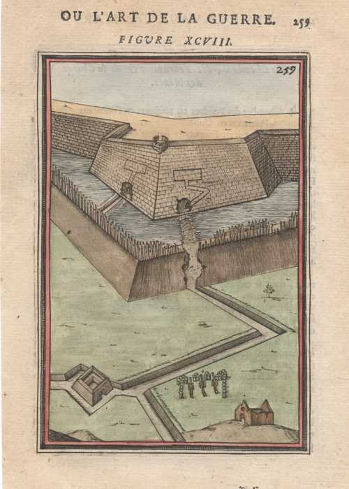 Defensive Fort proposed by Mallet Antique Print c1684