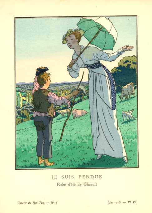 "Gazette du Bon Ton ""Je suis perdue"" (I am lost) Brissaud pochoir c1913"