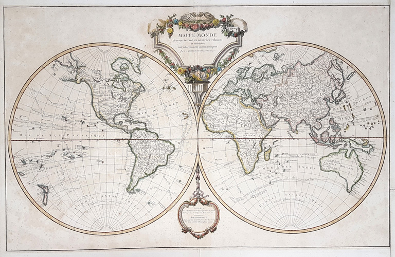 Pretty large World Map showing many explorers voyages c1786.