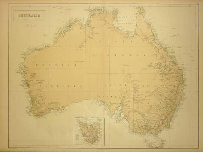 Australia Map 785.Antique Print Club Australia Antique Map By A C Black Inset Of
