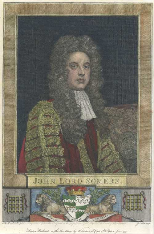 Blackstone's Legal Commentaries. John, Lord Somers. Engraving c1793