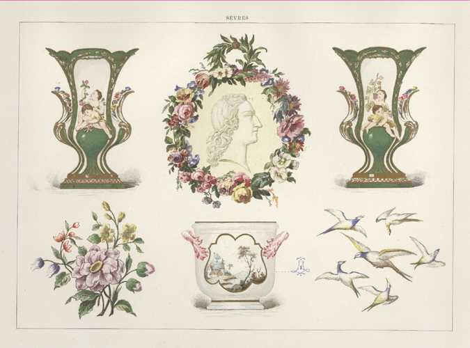 Sevres Porcelain antique print. Early stages of manufacture. Lithograph c1890