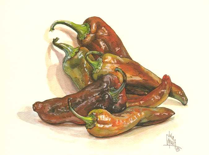 Red Chili Peppers. Lovely Julia Crainer print.
