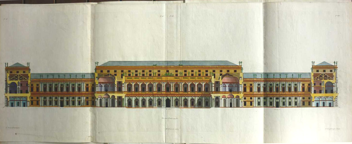 Inigo Jones Architecture. Royal Palace, Whitehall p40-43. Engraving c1725