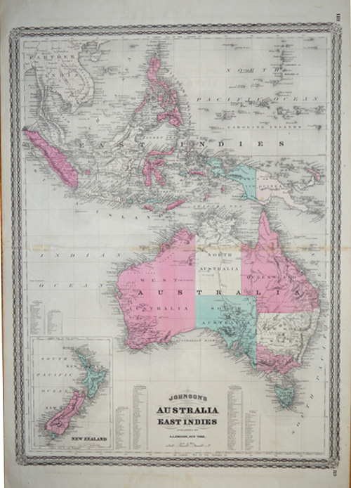 Johnson's Australia and East Indies, with New Zealand, published by A.J. Johnson, New York circa 1874.