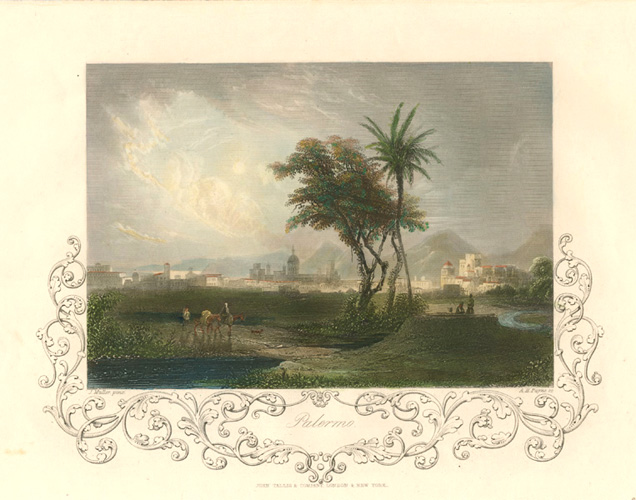 Palermo, Sicily. John Tallis decorative steel engraving c1845.