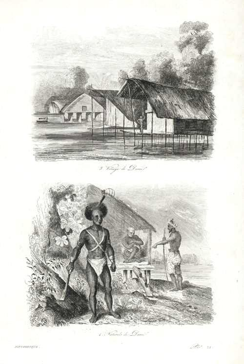 PNG. Dorey Village & Natives. Village de Dorei, Naturels.. D'Urville c1834