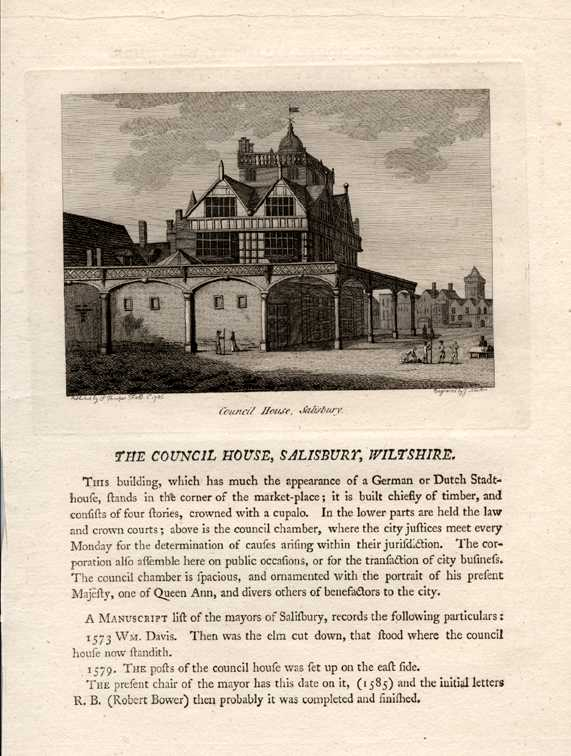 The Council House, Salisbury, Wiltshire. Law Courts & Council Chambers. c1785