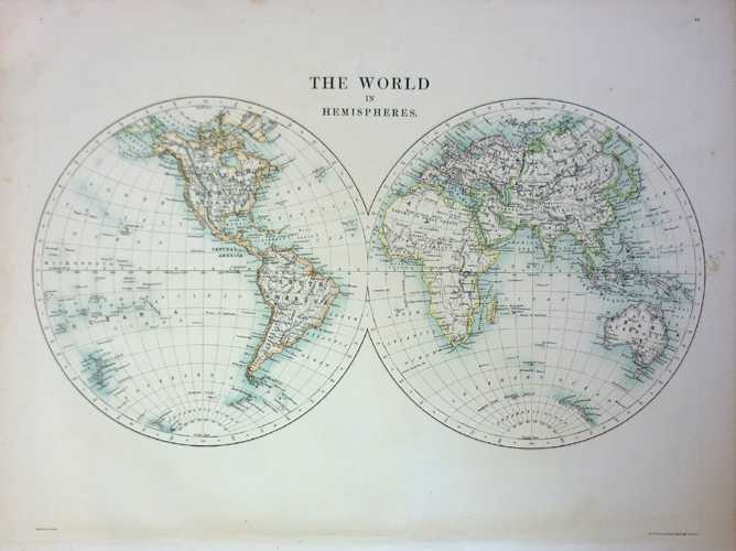 World in Hemispheres. Johnston Antique Map c1886