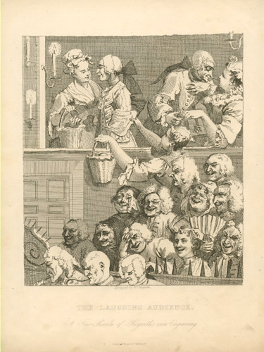 The Laughing Audience by William Hogarth. Engraving c1880.
