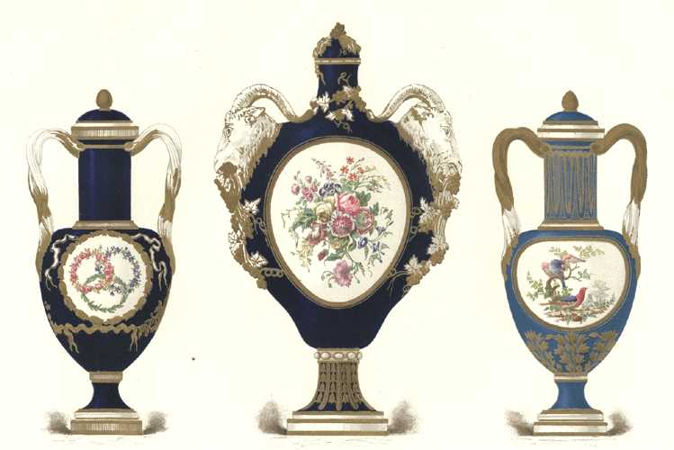 Sevres Porcelain finely styled with cylindrical necks. Lithograph c1891.