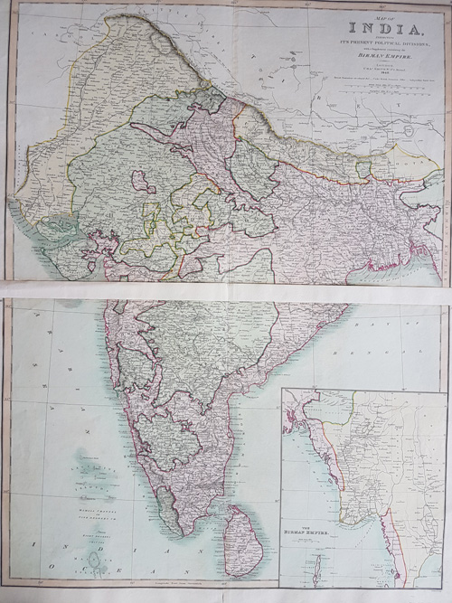Pair of maps of India with Birman Empire, c1840.