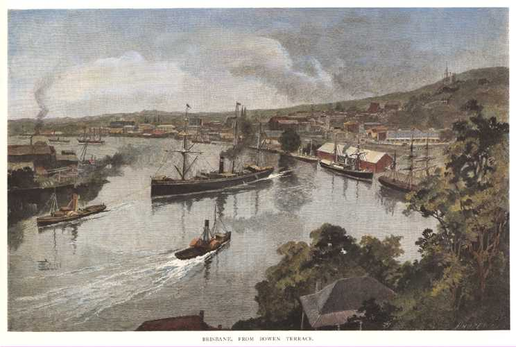 Brisbane from Bowen Terrace. Brisbane River and RMS Quetta (c1886)