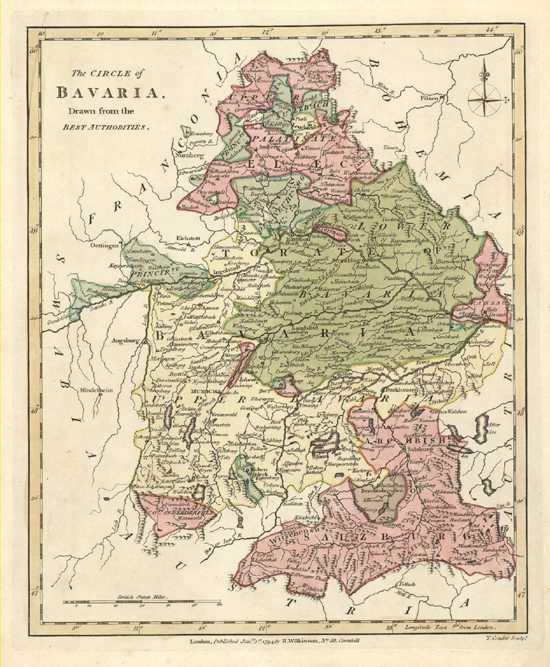 The Circle of Bavaria Antique Map. Wilkinson 1794.
