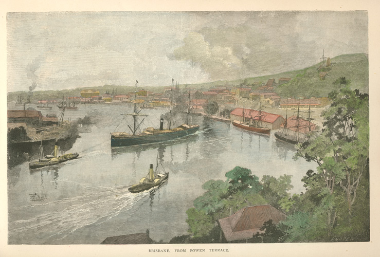 Brisbane from Bowen Terrace, RMS Quetta engraving c1886
