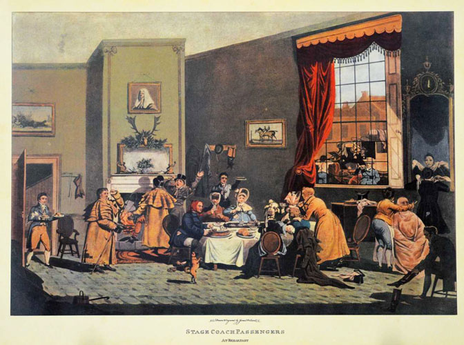 Stage Coach Passengers at Breakfast. Large reproduction print.