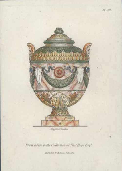 Classical Vase in Thomas Hope Collection. Engraving c1811