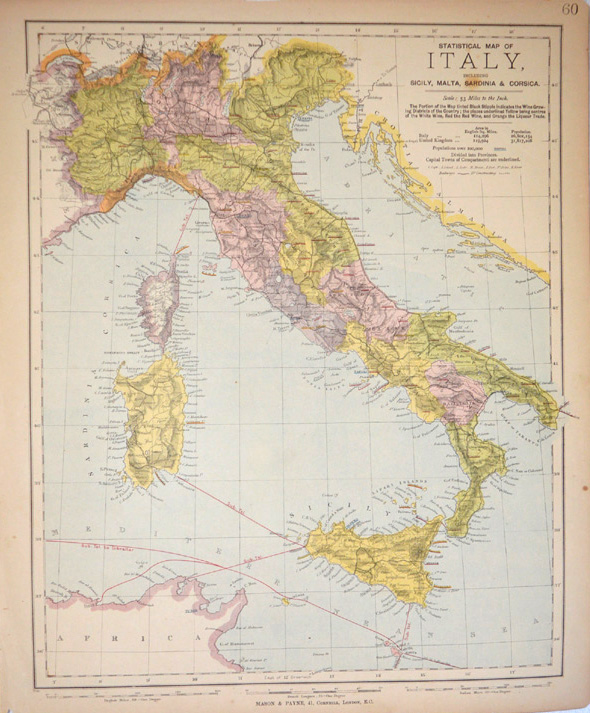 Half-price antique map of Italy with Wine-growing Regions c1887