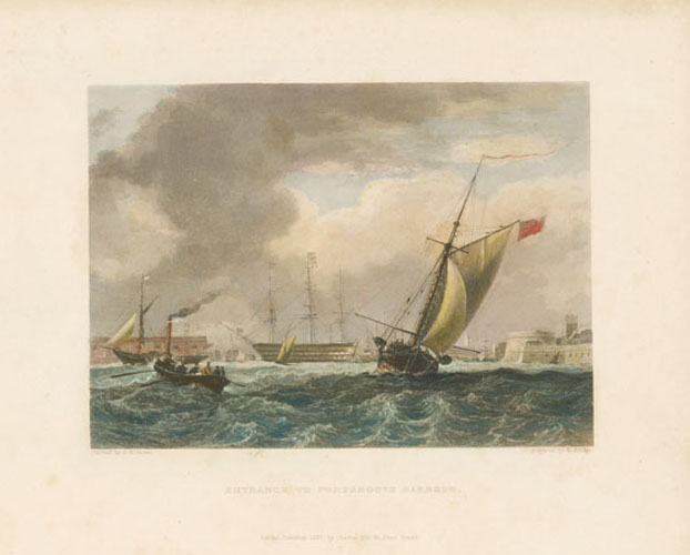 Entrance to Portsmouth Harbour. E. Finden engraving after E.W. Cooke.c1837.