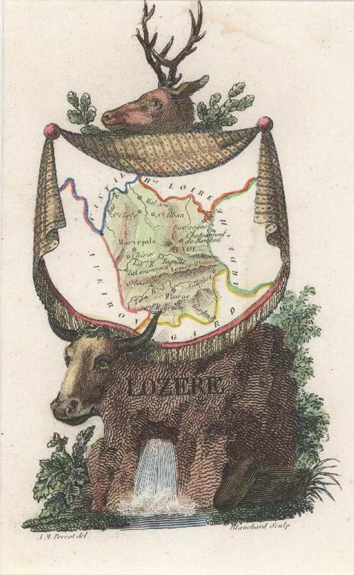 Lozere Department of France Antique Map by Perrot c1834