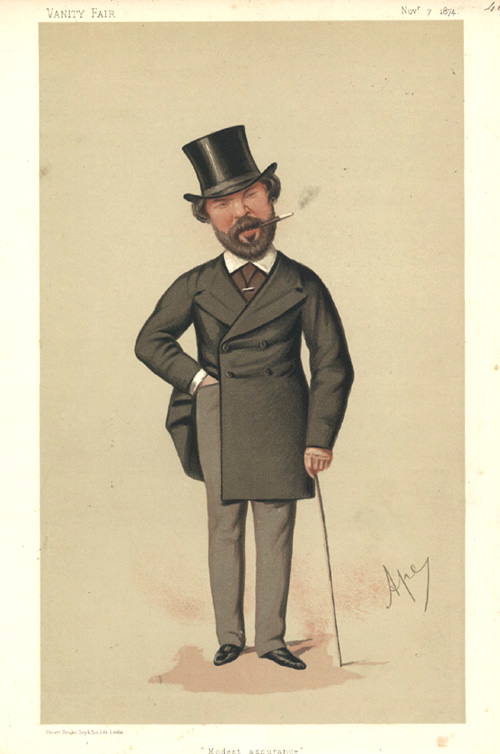 """Modest Assurance"" Vanity Fair lithograph caricature. Mr Henry du pre Labouchere, c1874."