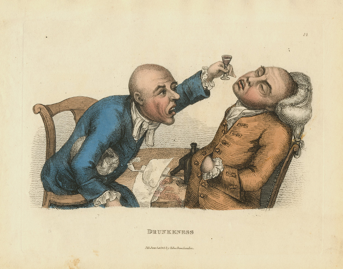 Rare Timothy Bobbin caricature. Drunkeness. Collier engraving c1810.