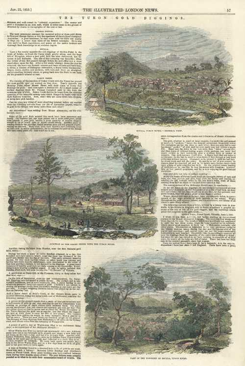 Goldfields of Australia. Turon Gold Diggings. Engraved views c1853