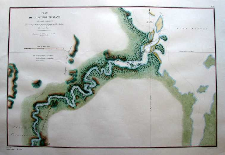 John Oxley Brisbane River map. Hand-coloured Heritage Editions Limited Edition