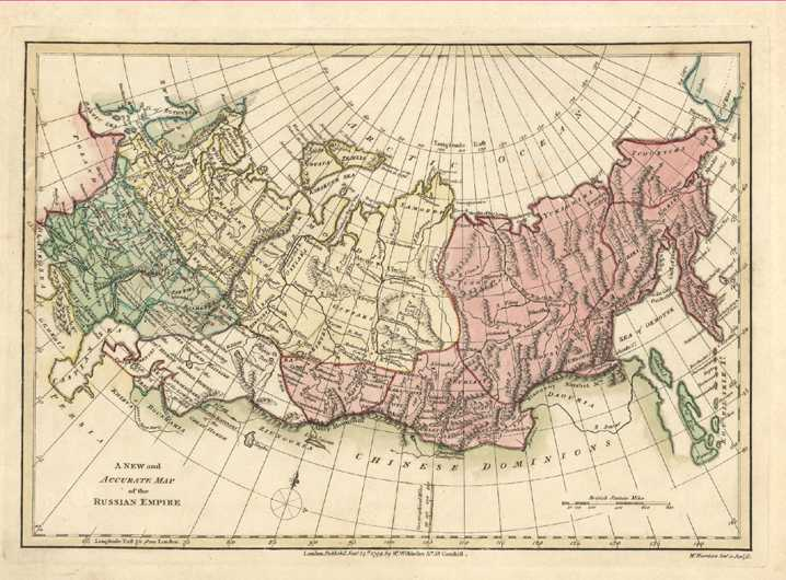 A New and Accurate Map of the Russian Empire. Wilkinson map c1794.