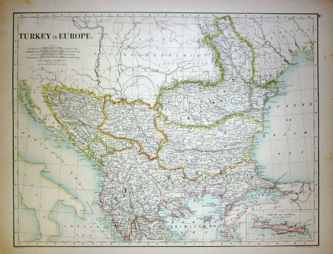 Turkey in Europe. Antique Map by W. & A.K. Johnston c1886