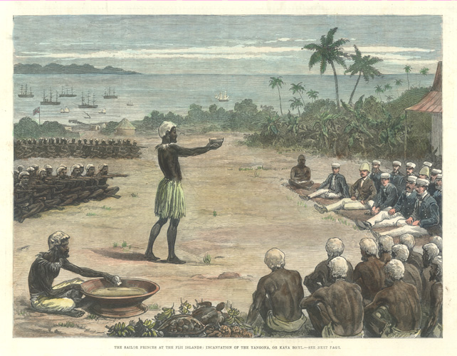 Fiji Islands: Incantation of Yangona, or Kava Bowl c1882